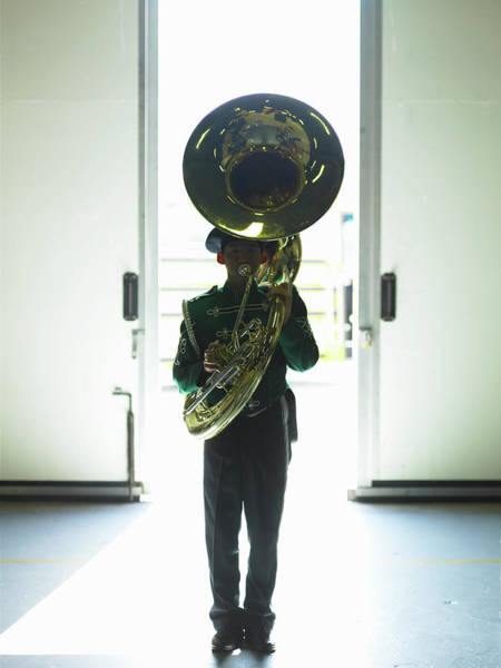 Wall Art - Photograph - Teenage Boy 16-18 In Marching Band by Ryan Mcvay