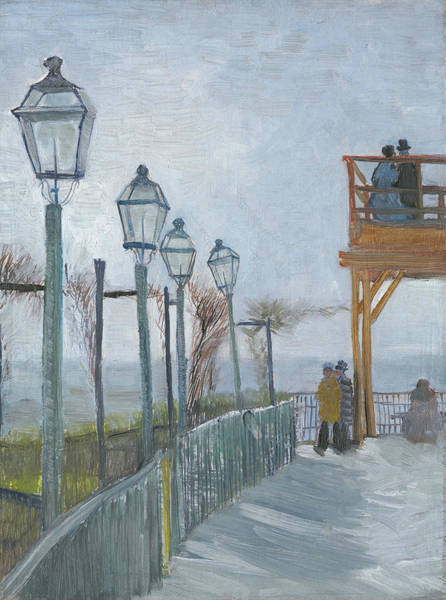 Wall Art - Painting - Terrace And Observation Deck At The Moulin De Blute-fin, Montmartre by Vincent van Gogh