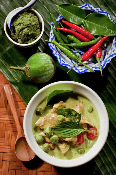 Raw Meat Photograph - Thai Green Curry With Chicken by Shutterworx