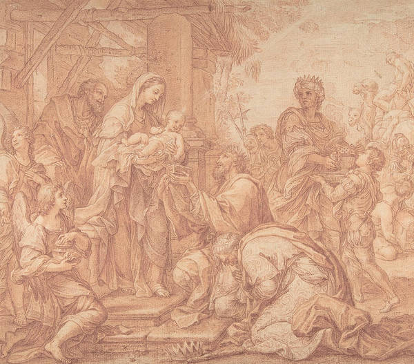 Drawing - The Adoration Of The Magi by Giuseppe Bartolomeo Chiari