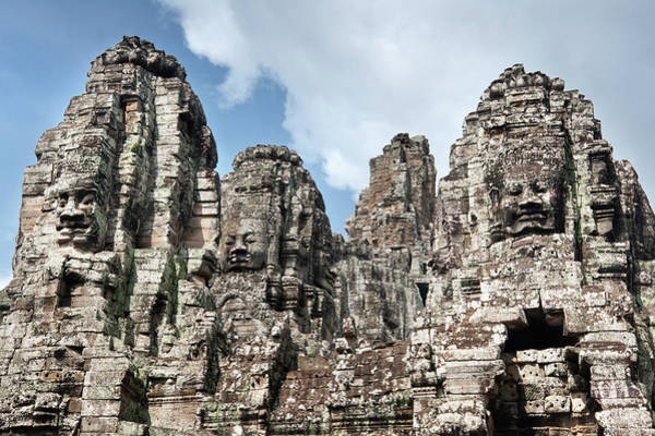 Southeast Asia Wall Art - Photograph - The Bayon, Angkor Thom, Angkor, Unesco by Andrew Stewart / Robertharding