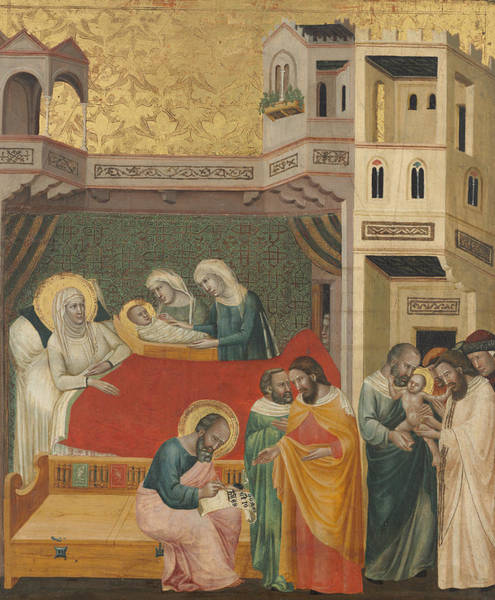 Painting - The Birth, Naming, And Circumcision Of Saint John The Baptist by Giovanni Baronzio