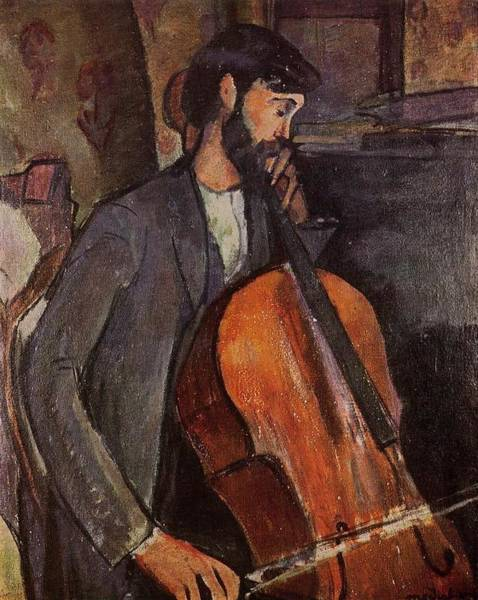 Cellist Painting - The Cellist - 1909 - Painting - Oil On Canvas by Modigliani Amedeo
