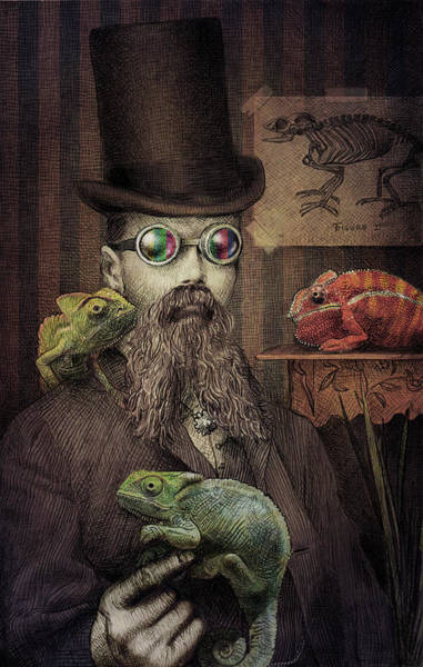 Hat Drawing - The Chameleon Collector by Eric Fan