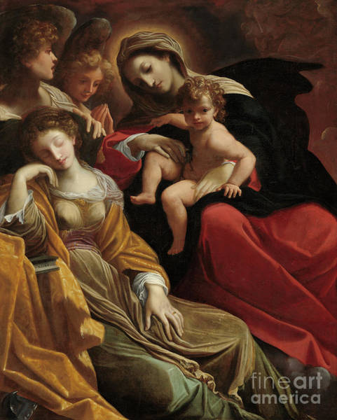 Wall Art - Painting - The Dream Of Saint Catherine Of Alexandria by Lodovico Carracci