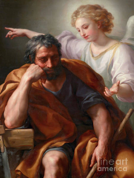Wall Art - Painting - The Dream Of Saint Joseph by Anton Raphael Mengs