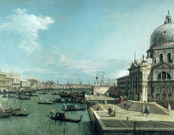 Wall Art - Painting - The Entrance To The Grand Canal And The Church Of Santa Maria Della Salute by Canaletto