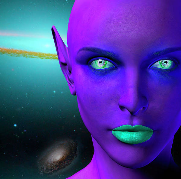 Photograph - The Face Of A Female Alien. Colorful by Bruce Rolff
