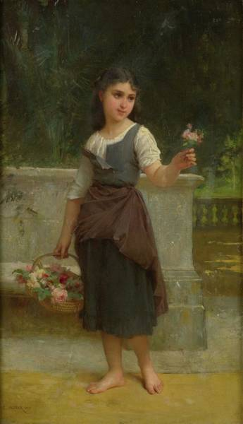 Wall Art - Painting - The Flower Girl, 19th Century by Emile Munier