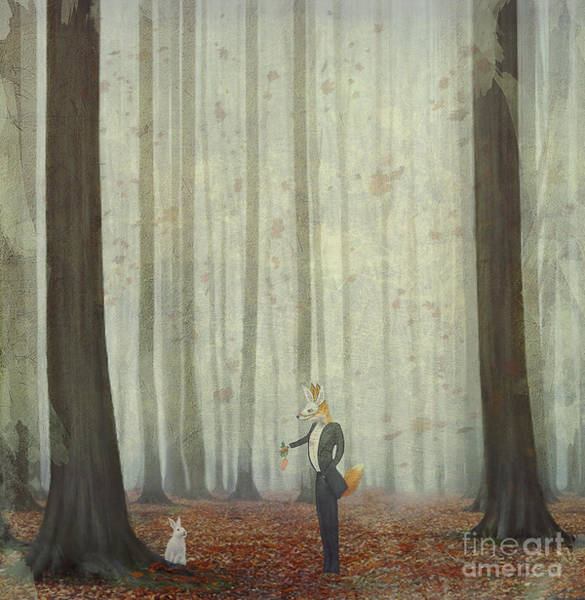 Reynard Wall Art - Digital Art - The Fox In A Wood To Hunt On A Hare by Natalia maroz
