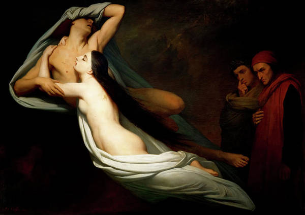 Wall Art - Painting - The Ghosts Of Paolo And Francesca Appear To Dante And Virgil by Ary Scheffer