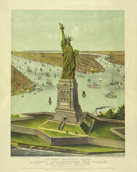 Wall Art - Painting - The Great Bartholdi Statue, Liberty Enlightening The World, 1885 by Currier and Ives