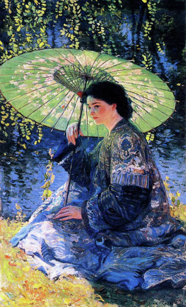 Wall Art - Painting - The Green Parasol by Guy Rose