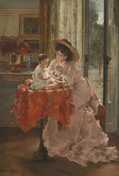 Wall Art - Painting - The Happy Mother by Alfred Stevens