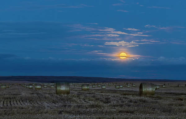 Wall Art - Photograph - The Harvest Moon Above A Field Of Hay by Alan Dyer