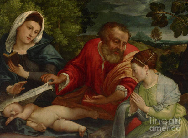 Wall Art - Painting - The Holy Family With A Donatrix As Saint Catherine Of Alexandria by Lorenzo Lotto