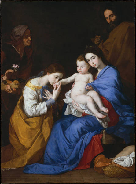 Painting - The Holy Family With Saints Anne And Catherine Of Alexandria by Jusepe de Ribera