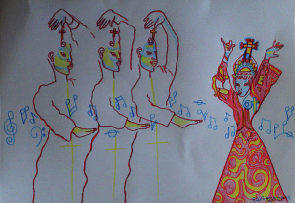 Painting - The Holy Trinity And  Mary  Mother Of God  Lord Of The Dance As Sung By Many A Choir Asia by Gloria Ssali