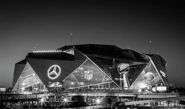 Wall Art - Photograph - The Jewel Of Atlanta Mercedes- Benz Stadium B W Super Bowl L111 Atlanta Night Art by Reid Callaway