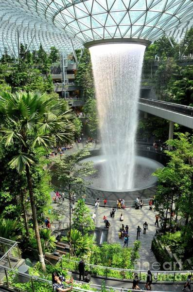 Photograph - The Jewel Waterfall Monorail Track Gardens And Visitors Changi Airport Singapore by Imran Ahmed