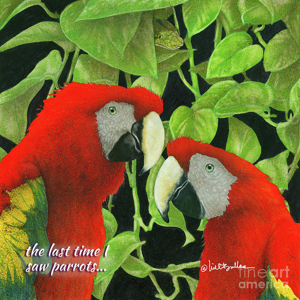 Wall Art - Painting - the last time I saw parrots... by Will Bullas