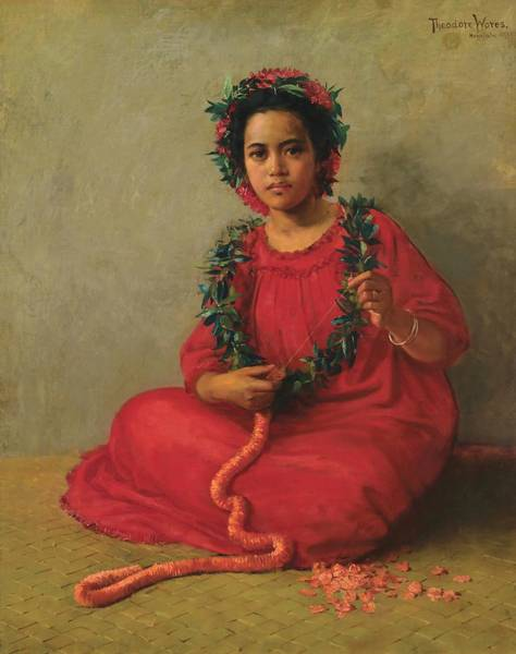 Wall Art - Painting - The Lei Maker by Theodore Wores