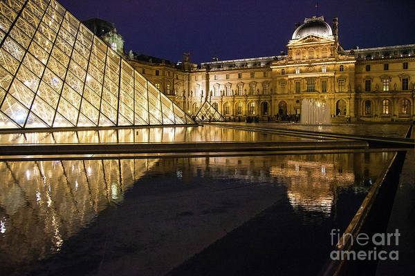 Wall Art - Photograph - The Louvre Paris France The Pyramid At Night Architecture by Wayne Moran
