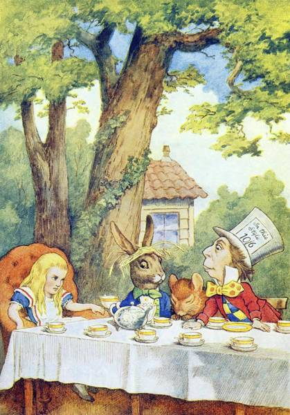 Wall Art - Painting - The Mad Hatter S Tea Party  Illustration From  Alice In Wonderland  By Lewis Carroll  by John Tenniel