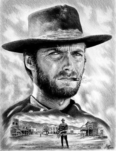 Clint Eastwood Drawing - The Man With No Name by Andrew Read