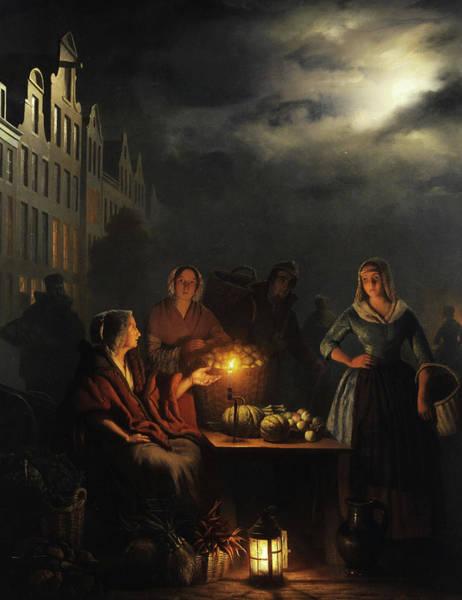 Wall Art - Painting - The Night Market by Petrus van Schendel