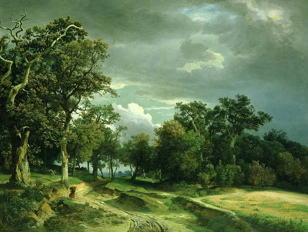 Wall Art - Painting - The Path On The Edge Of The Wood by Johann Wilhelm Schirmer
