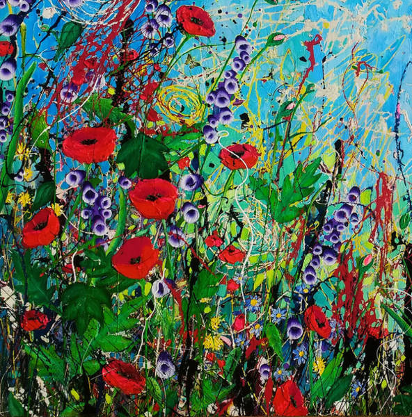 Wall Art - Painting - The Poppy Patch Detail by Angie Wright