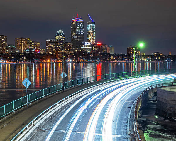 Photograph - The Pru Lit Up For The New England Patriots by Toby McGuire