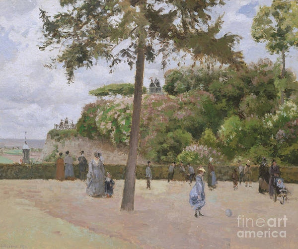 Wall Art - Painting - The Public Garden At Pontoise, 1874 by Camille Pissarro
