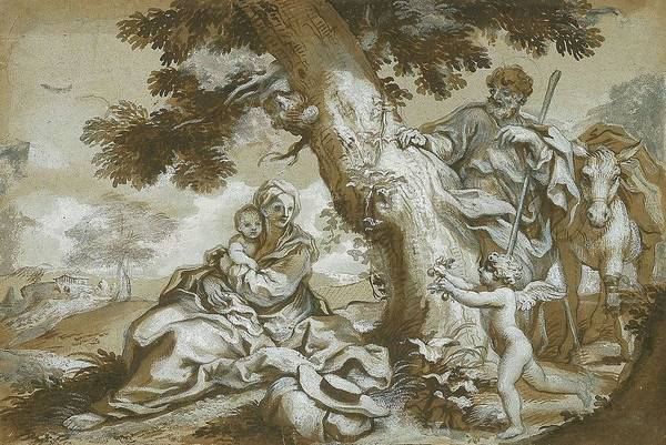 Wall Art - Painting - The Rest On The Flight Into Egypt  by Paolo Gerolamo Piola