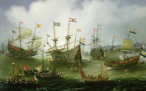 Wall Art - Painting - The Return To Amsterdam Of The Second Expedition To The East Indies by Andries van Eertvelt