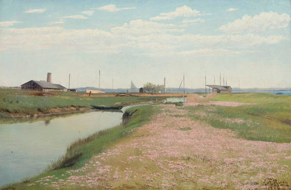 Painting - The River And The Harbour At Frederiksvaerk by Laurits Andersen Ring