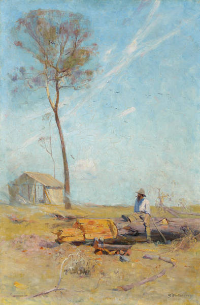 Arthurs Seat Painting - The Selectors Hut - Whelan On The Log by Arthur Streeton
