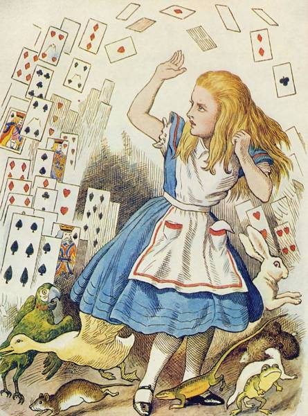 Wall Art - Painting - The Shower Of Cards  Illustration From  Alice In Wonderland  By Lewis Carroll  by John Tenniel