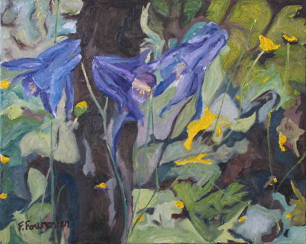 Wall Art - Painting - The Three Columbines  by Francois Fournier