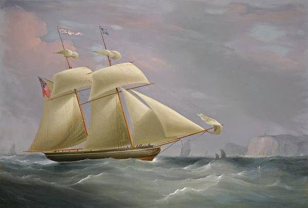 Wall Art - Painting - The Topsail Schooner Amy Stockdale Off Dover by William John Huggins