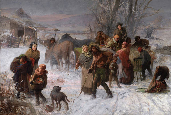 Vintage Railroad Painting - The Underground Railroad by Charles T Webber