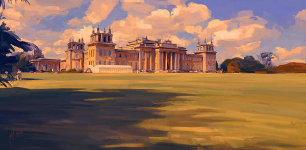 Digital Art - The White Party Tent Along Blenheim Palace by Nop Briex