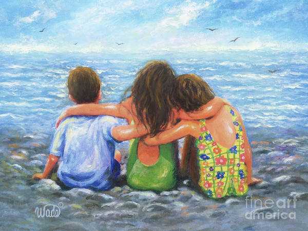 Wall Art - Painting - Three Beach Children Hugging by Vickie Wade