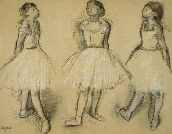 Wall Art - Drawing - Three Studies Of A Dancer In Fourth Position by Edgar Degas
