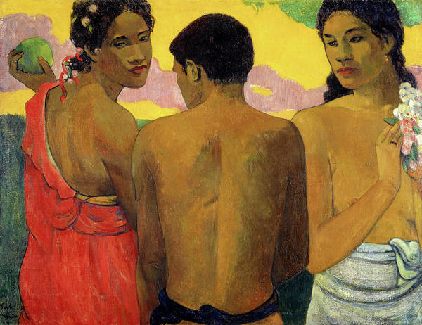Wall Art - Painting - Three Tahitians, 1899 by Paul Gauguin