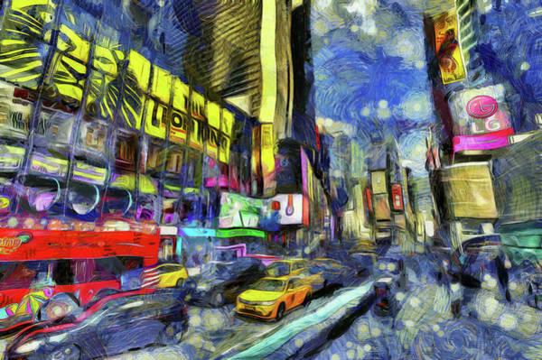 Wall Art - Photograph - Times Square Van Gogh Art by David Pyatt