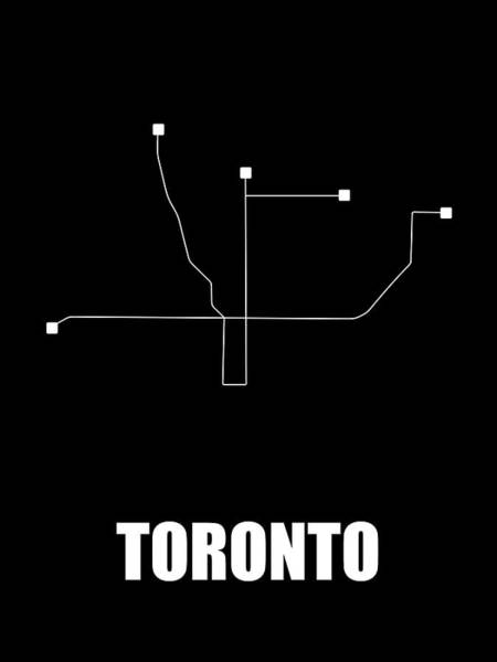 Wall Art - Digital Art - Toronto Black Subway Map by Naxart Studio