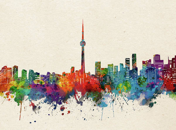 Wall Art - Digital Art - Toronto Skyline Watercolor by Bekim M