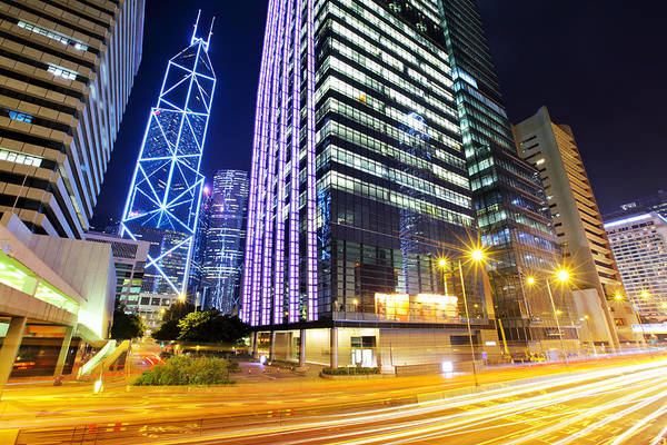 Central Business District Wall Art - Photograph - Traffic In Hong Kong At Night by Ngkaki